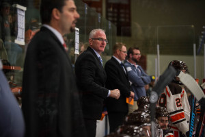 Asst. coaches Barry Schutte and Ty Eigner have been Berger's staff for his entire tenure. Todd Pavlack/BGSUHockey.com